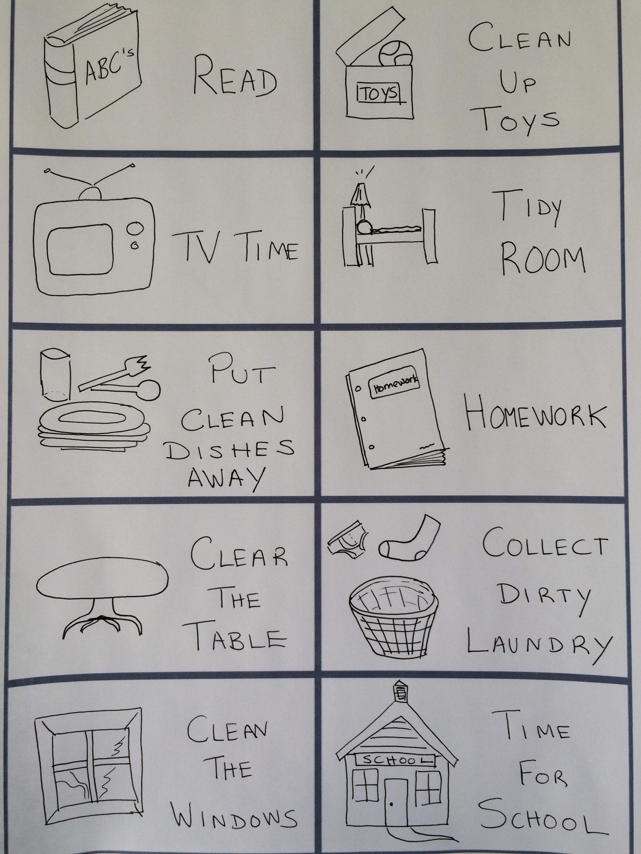 toddler chore cards with picture