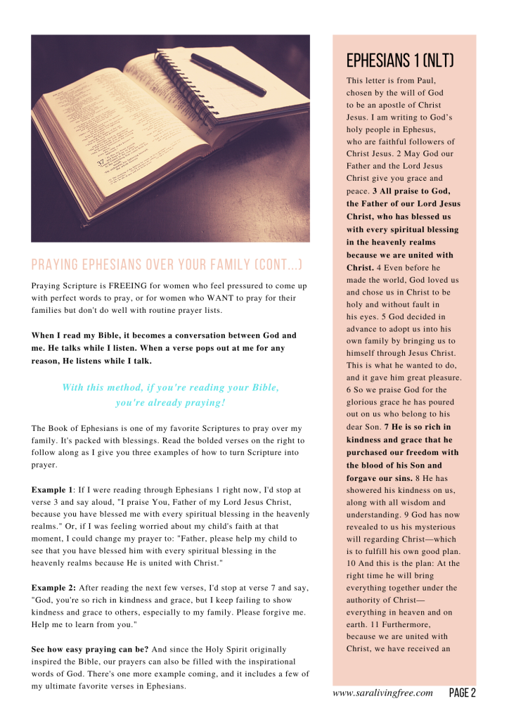 easy way to pray scripture over family quick guide free page 2